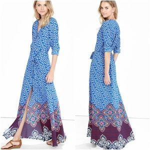 Express • Blue Paisley Button Front Maxi Dress